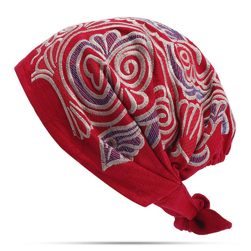... Womens Ethnic Vintage Embroidery Flowers Breathable Beanie Hat Casual  Adjustable Turban Caps ... 088a5c0e1da