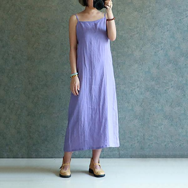 Casual Loose Sleeveless Cotton Linen Strappy Dress