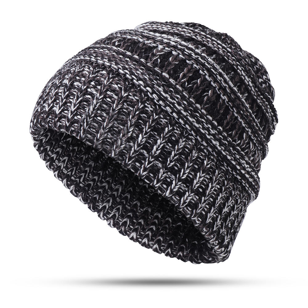 ffd7422ae6a ... Womens Winter Cotton Knitted Ponytail Beanie Caps Thicken Earmuffs Messy  Bun Hat ...