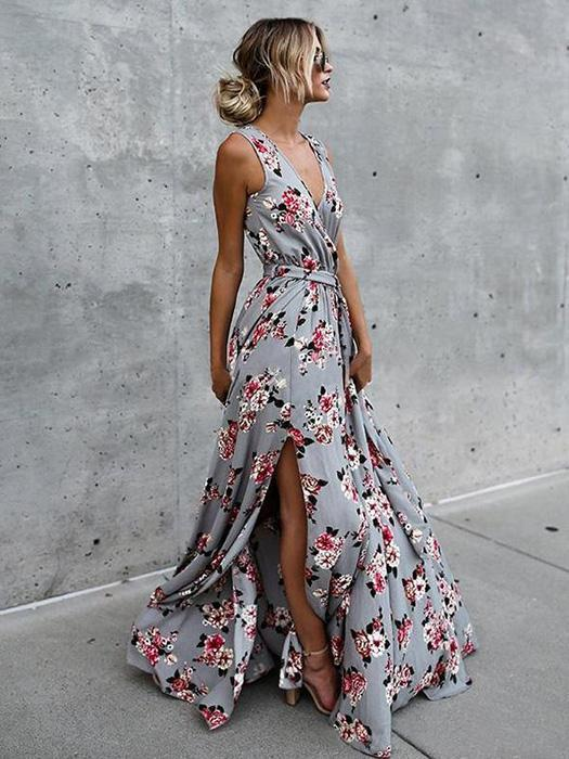 Bohemia Sleeveless Split-side Maxi Dress