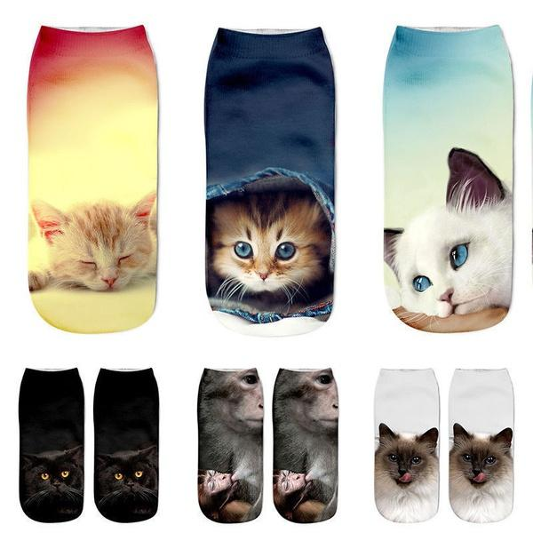 2Pairs Lovely 3D Print Cotton Short Socks Boat Casual Cat Cartoons Kawaii Ankle Female Cute Art Women Sock Girl Gifts Accessories