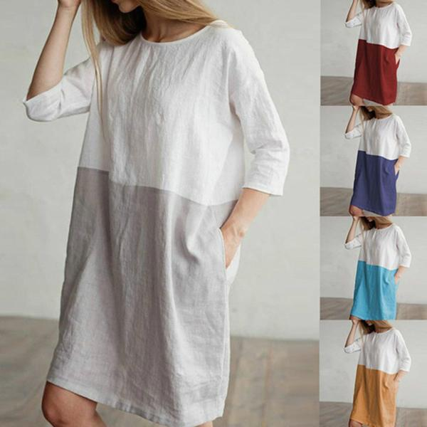 Casual  Linen Two-color Stitching Vintage T-Shirt Dress