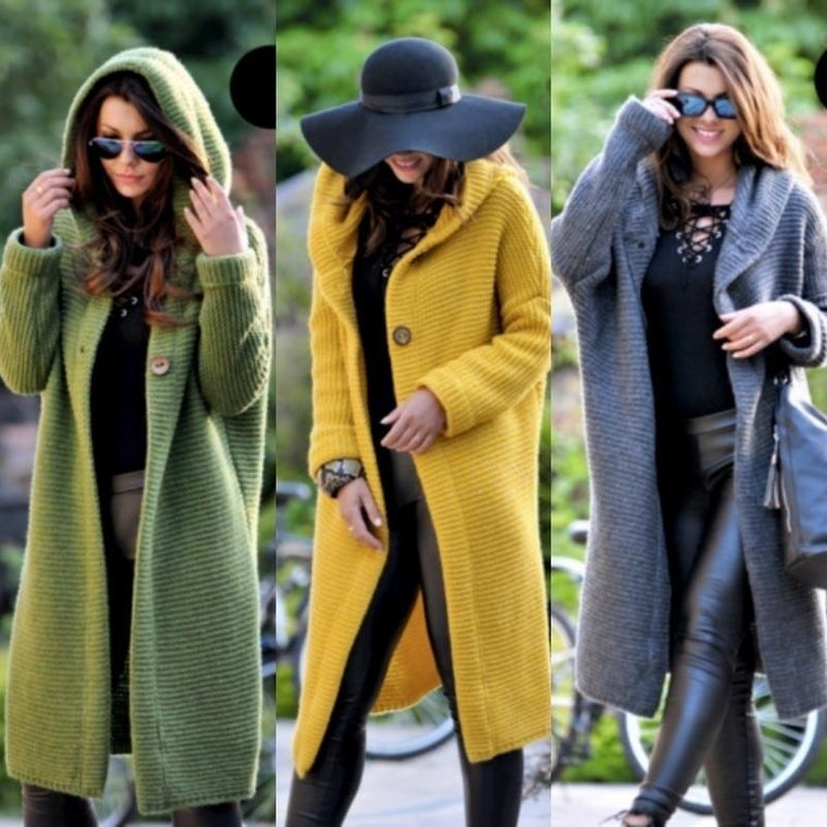 Fashion Hooded Long Cardigan Jacket Autumn and Winter Warm Sweater Long Coat