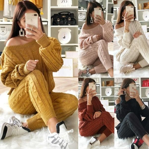 Two Piece Casual Warm Knit Sets