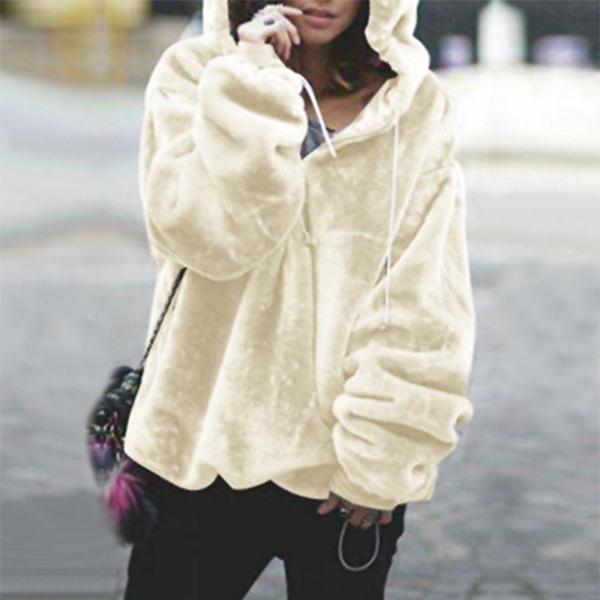 Womens Fluffy Hoodied Long Sleeve Sweater