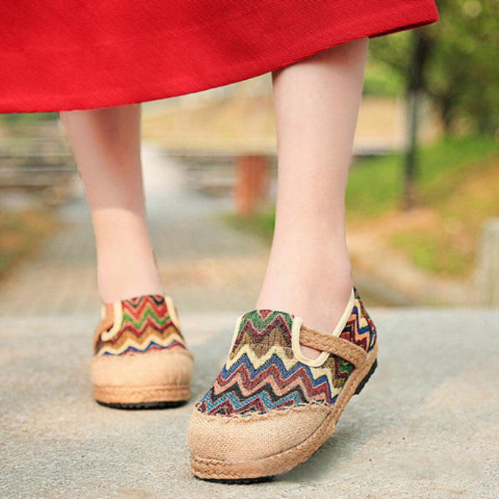 Vintage Colorful Stripe Flax National Wind Retro Slip On Flat Shoes