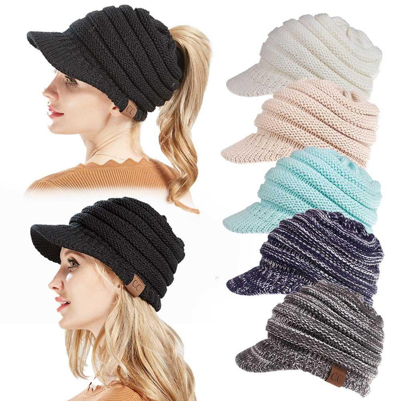 Womens Winter Warm Thicken Ponytail Beanie Hat Leisure Earmuffs Ski Knitting Forward Caps