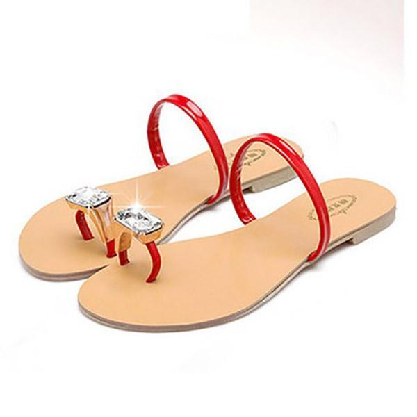 Concise Rhinestones Toe Ring Flat Sandals