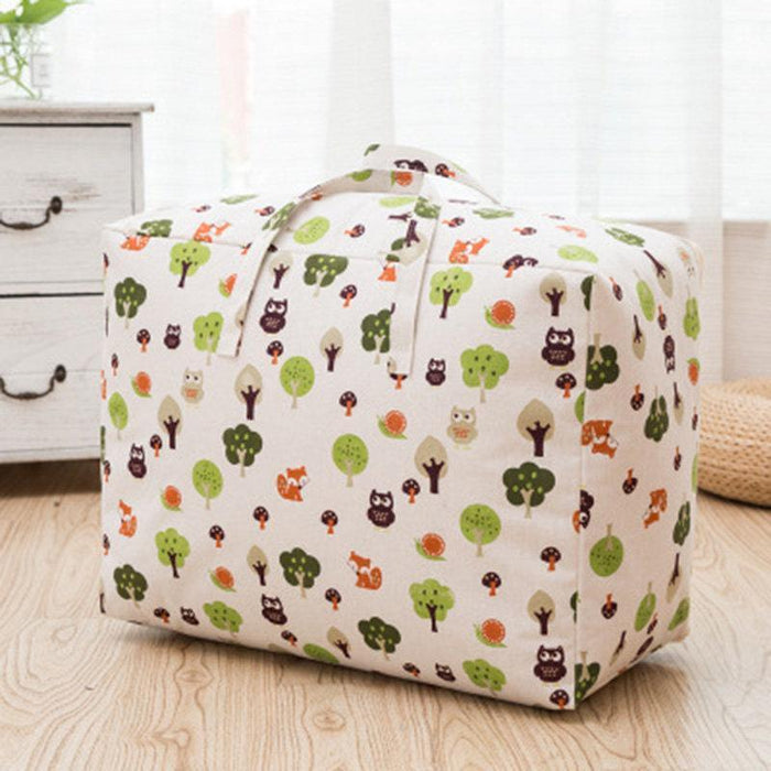 Waterproof Cotton Linen Printing Bag Large Capacity Quilt Clothes Travel Storage Bag