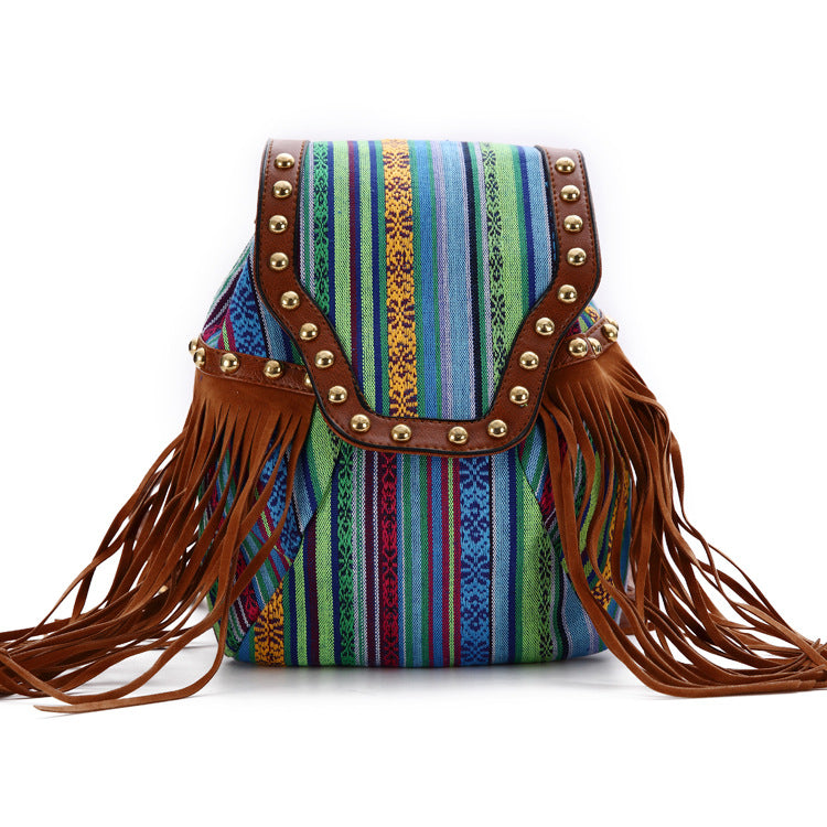Ethnic style casual fashion tassel backpack