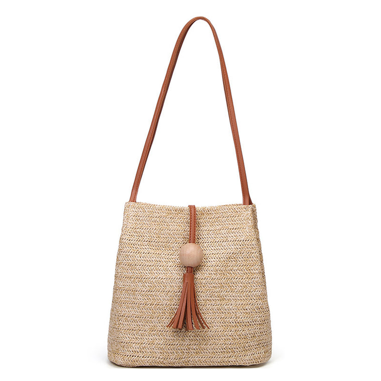 Straw Woven Handbag Beach Vacation Tote Purse Bag Large Capacity Shoulder Bag
