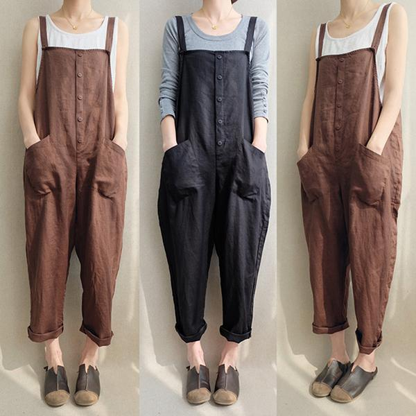 Women Casual Vintage Loose Jumpsuit