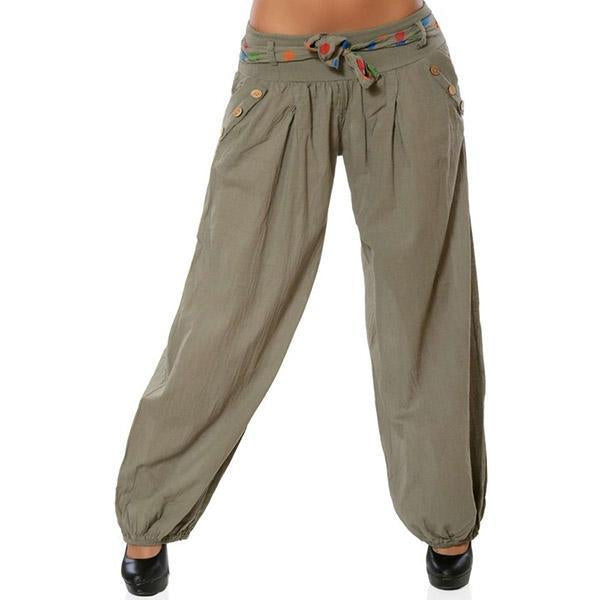 Fashion Casual Loose Printed Low Waist Wide Leg Pants