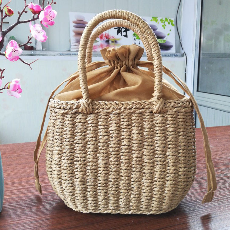 Summer casual hand-made straw bag