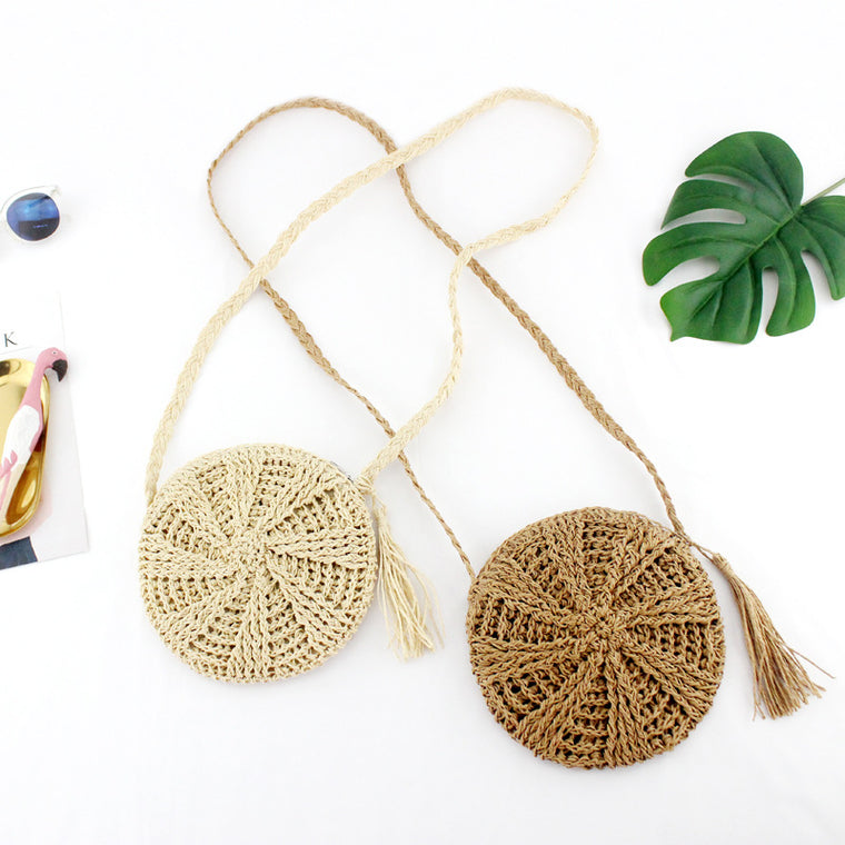 Tassel Round  Straw Bag Crossbody for Women Weave Shoulder Bag