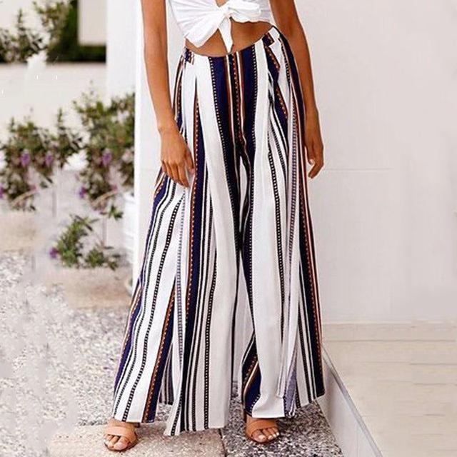 White Stripe Paneled Striped Casual Pants