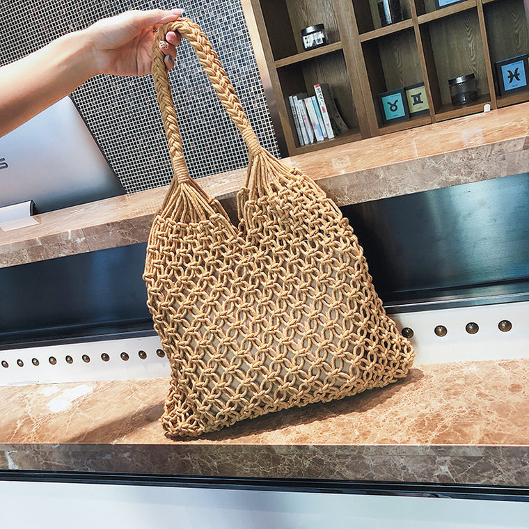 Hand-woven Hollow Beach Bag