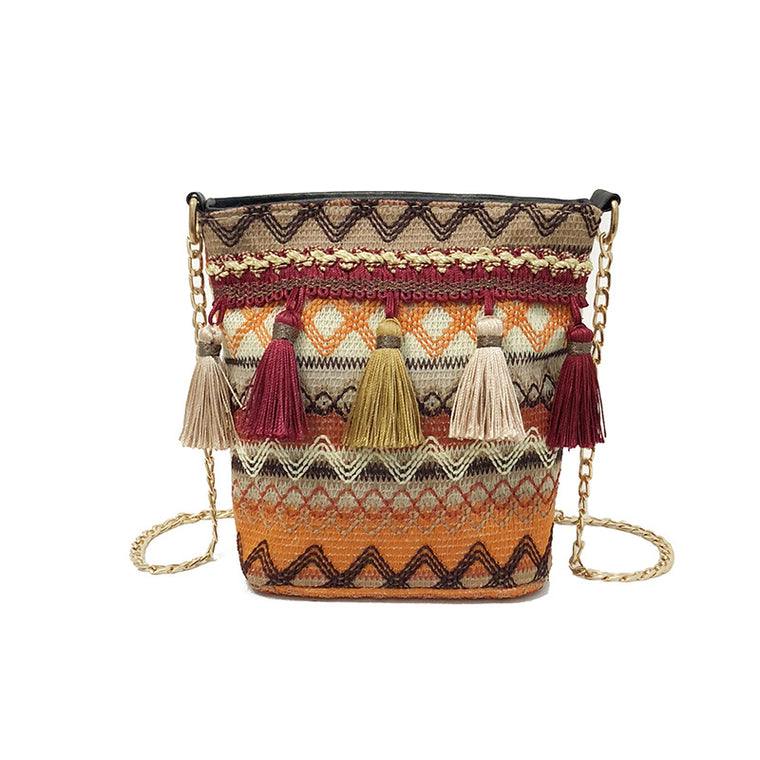 Vintage Women Weaving Tassel Shoulder Bag Messenger Bag Crossbody Bag Retro Female Small Messenger Bag