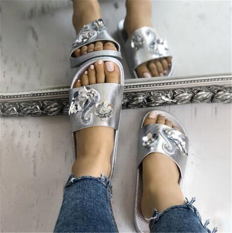 Summer Beach Bling Flat Slippers