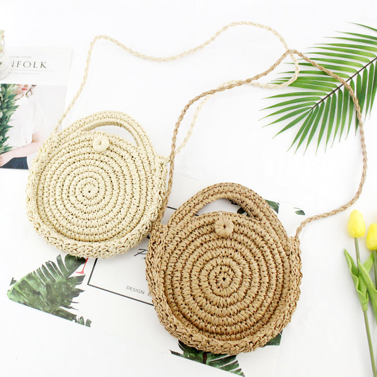 Round Paper Rope Beach Shoulder Bag Summer Mini Vintage Handmade Crossbody Straw Hand Bag Girl Circle Rattan Bags