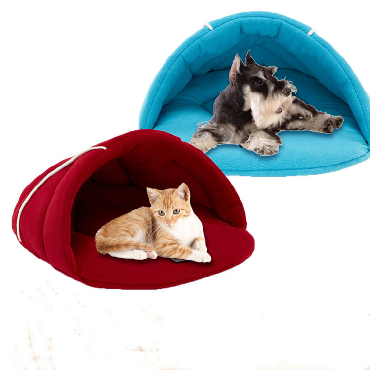 Pet Cat Dog Rabbit Nest Bed Puppy Soft Warm Cave House Winter Sleeping Bag Mat Pad