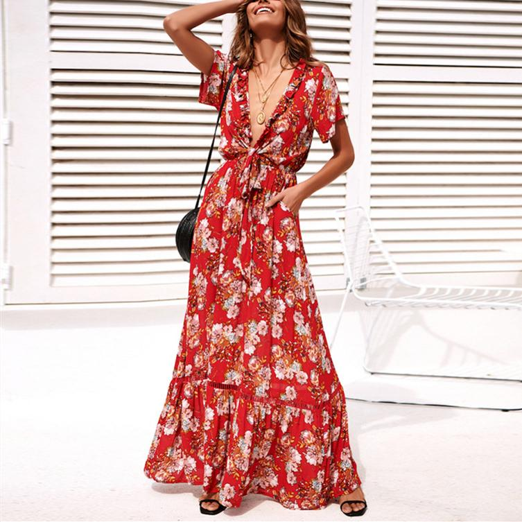 Red Flower Print Maxi Dress Knotted Holiday Dress
