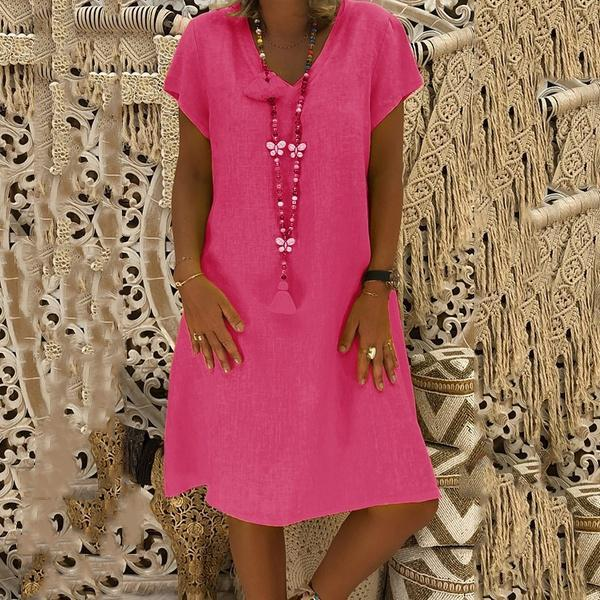 Boho V-neck Loose Short Sleeve Mini Dresses