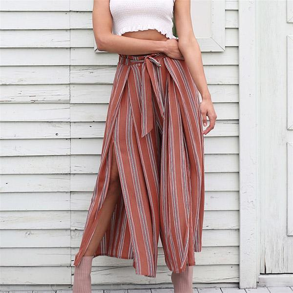 Fashion High Waist Laced Striped Wide Leg Pants