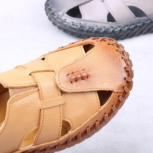 Big Size Female Leather Fisherman Hollow Out Flats