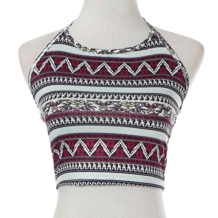 Sexy Women Crop Tops Summer Beachwear Strap Tank Vest Tops High-Neck Halter