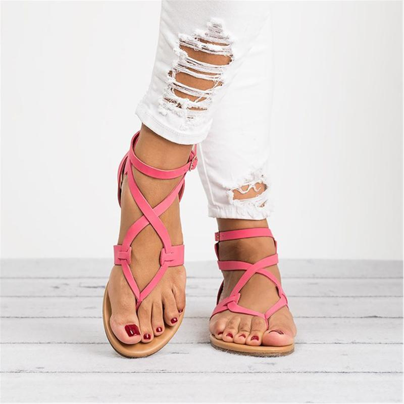 Women's Plus Size Casual Buckle Sandals
