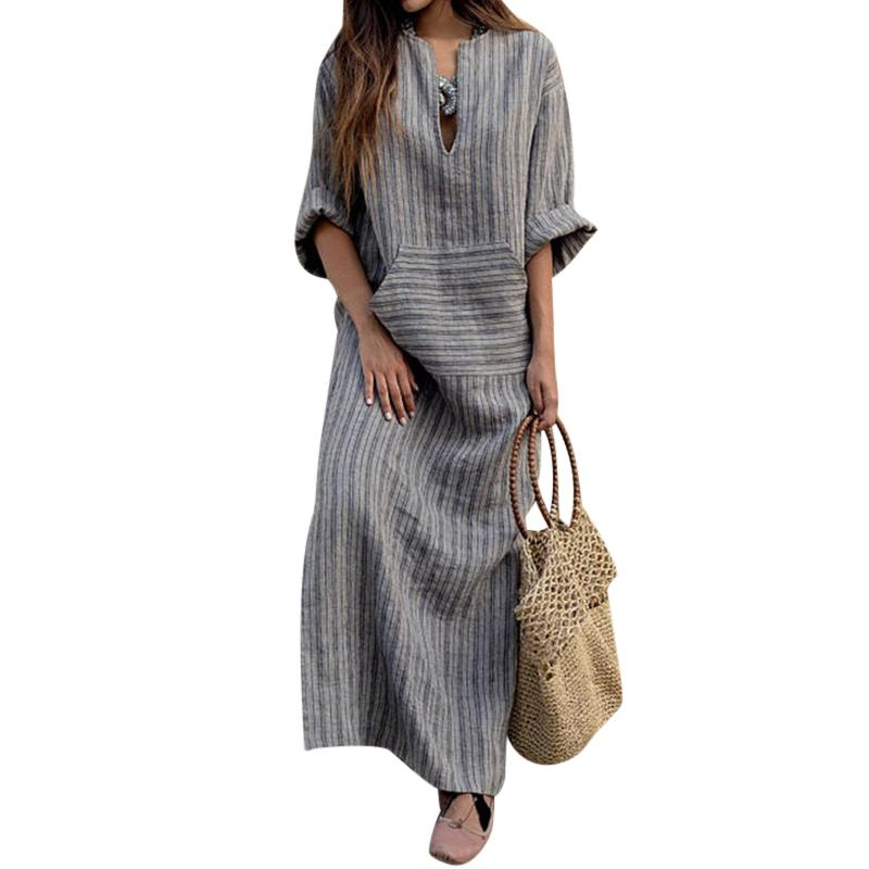 e23e2933c79 ... Women Oversized Retro Casual Loose Long Maxi Dresses Cotton Linen  Striped Long Sleeve Ankle Length Dress ...