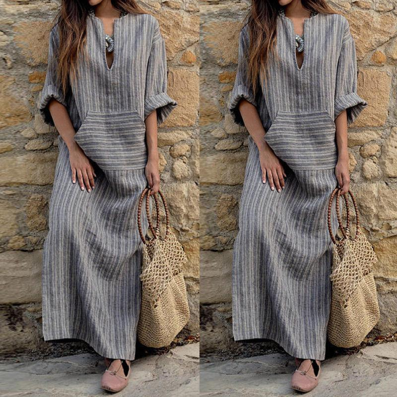 f39f069bc1 ... Women Oversized Retro Casual Loose Long Maxi Dresses Cotton Linen  Striped Long Sleeve Ankle Length Dress ...