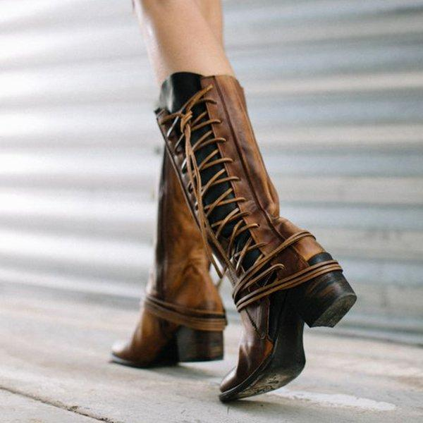 Women Vintage Side Lace-up Low Heel Boots
