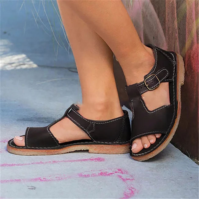 Plus Size Women Vintage Adjustable Buckle Sandals