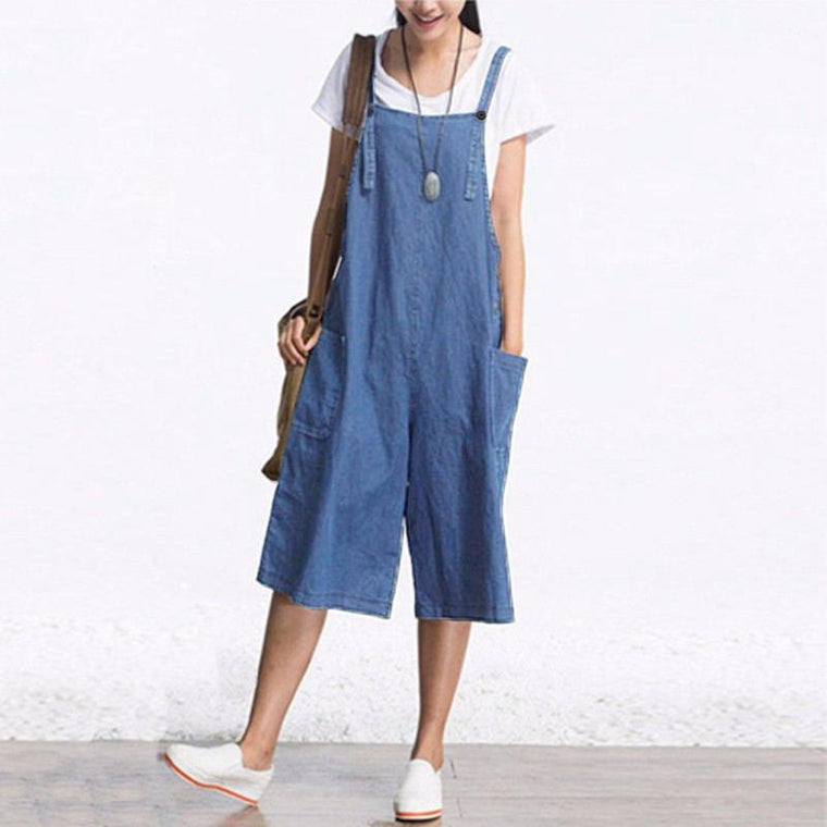 Denim Strap Loose Jumpsuit
