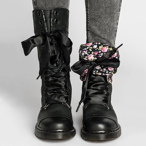 Vintage Lace-up Leather Mid-Calf Chunky Heel Boots