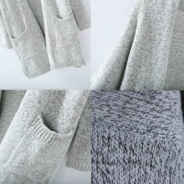 Warm Knitting Cardigans Sweater with Pocket