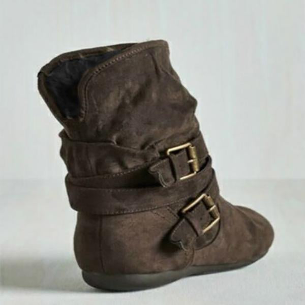 Warm Fur Buckle Flat Ankle Boots