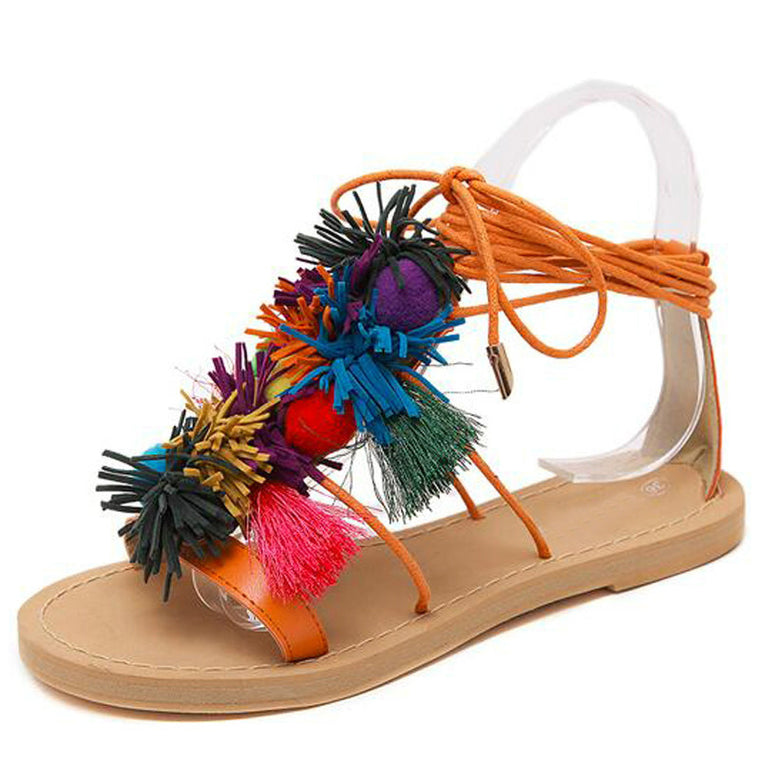 4579fc41e49fa4 Summer New Colorful Fringe Flower Ball PomPom Sandals Sandals Flat with Roman  Gladiator High Lace Thong