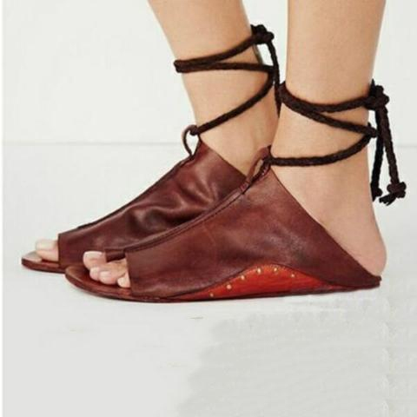 Women's Fashion Lace-up Flat Sandals