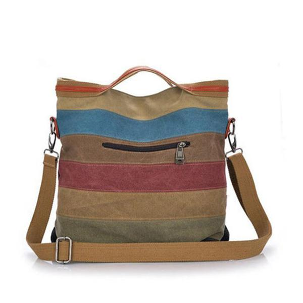 Casual Canvas Striped Crossbody Bags