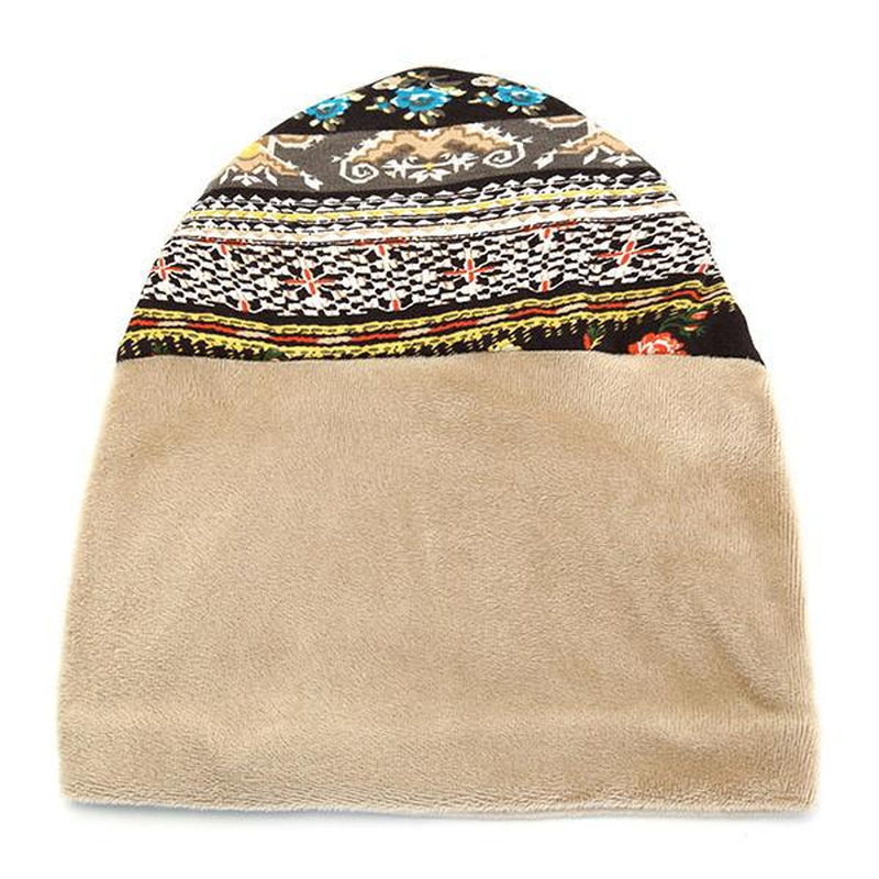 Women Cotton Flower Printing Beanie Hats Winter Multi-Use Warm Neck Gaiter Face Shield