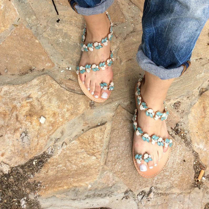 Plus Size Greek Crystal Decorated Flat Sandals