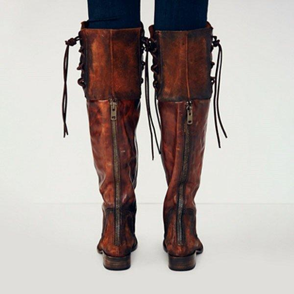 Vintage PU Winter Boots with Back Zippers