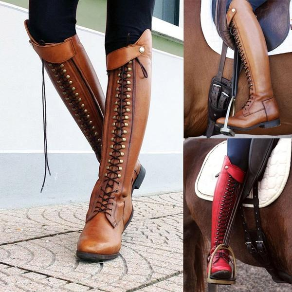 Women Vintage Lace Up Leather Knee High Boots
