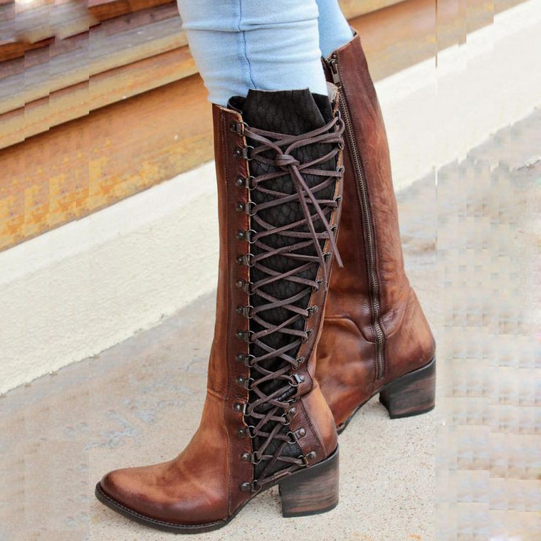 Women Vintage Lace Up Boots European Style Size Zipper And Lace Above Knee Boots