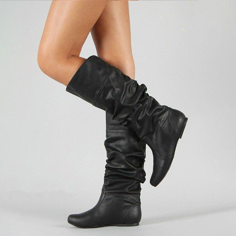 Pure Color Plicated Bottine High Leg Boots
