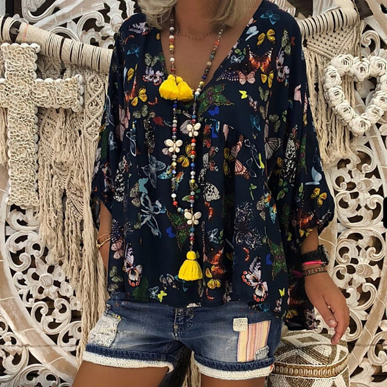 Plus Size Loose Floral Print Long Sleeve Blouses