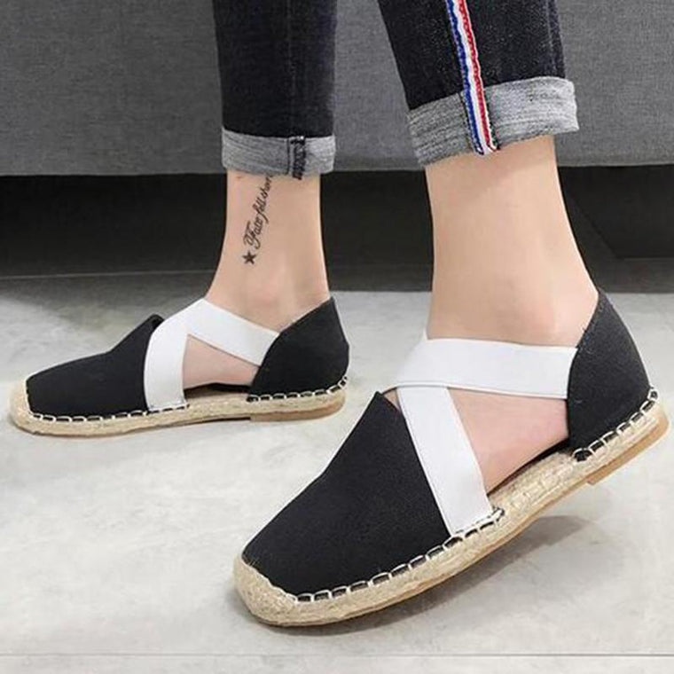 Womens Elastic Band Casual Flat Heel Canvas Loafers